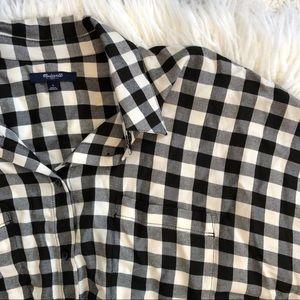 NWOT MADEWELL black white plaid short sleeve shirt